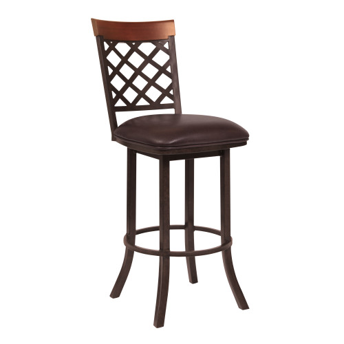 """Bree 26""""Counter Height Barstool in Auburn Bay with Ford Brown Faux Leather and Sedona Wood"""