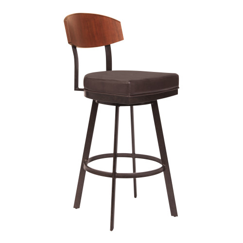 "Frisco 30"" Bar Height Barstool in Auburn Bay with Brown Faux Leather and Sedona Wood"