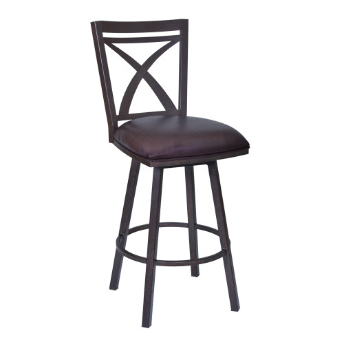 "Armen Living Nova 26"" Counter Height Swivel Metal Barstool in Auburn Bay finish with Brown Faux Leather"