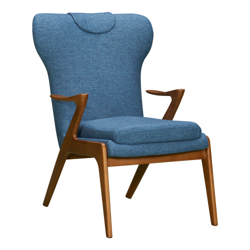 Ryder Mid-Century Accent Chair in Champagne Ash Wood Finish and Blue Fabric