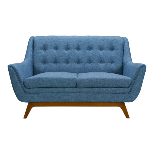 Janson Mid-Century Loveseat in Champagne Wood Finish and Blue Fabric