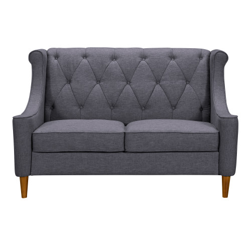 Luxe Mid-Century Loveseat in Champagne Wood Finish and Dark Grey Fabric