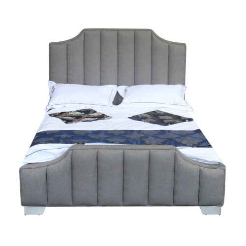 Armen Living Camelot Contemporary Queen Bed with Polished Stainless Steel and Grey Fabric