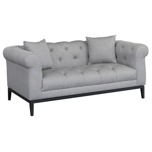 Armen Living Glamour Contemporary Loveseat with Black Iron Finish Base and Grey Fabric