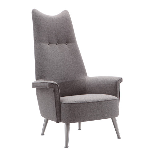Armen Living Danka Chair in Brushed Stainless Steel finish with Grey Fabric