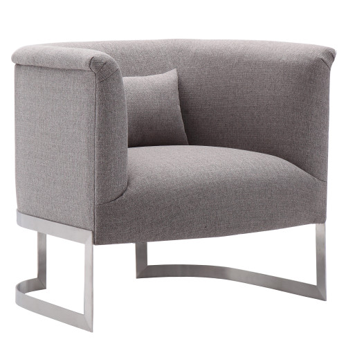 Armen Living Elite Accent Chair in Brushed Stainless Steel finish with Grey Fabric