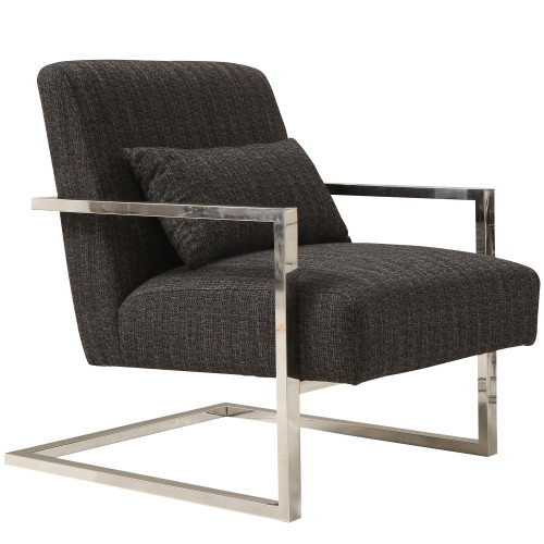 Armen Living Skyline Accent Chair In Charcoal Fabric