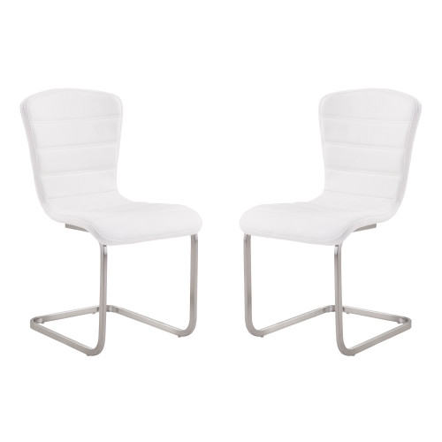 Armen Living Cameo Modern Side Chair In White and Stainless Steel - Set of 2