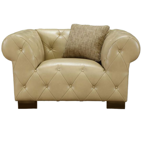 Armen Living Tuxedo Beige Chair In Bonded Leather
