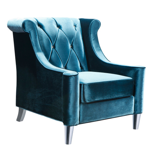 Armen Living Barrister Chair In Blue Velvet With Crystal Buttons