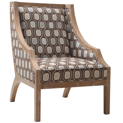 Armen Living Sahara Solid Wood Accent Chair In Multi-Colored Fabric