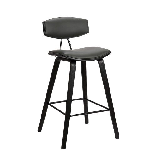 "Fox 26"" Mid-Century Counter Height Barstool in Grey Faux Leather with Black Brushed Wood"