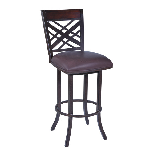"Tahiti 26"" Barstool in Auburn Bay finish with Brown Pu upholstery"