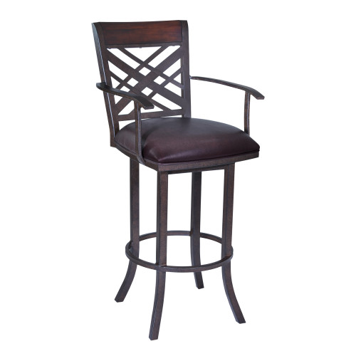 "Tahiti 30"" Arm Barstool in Auburn Bay finish with Brown Pu upholstery"