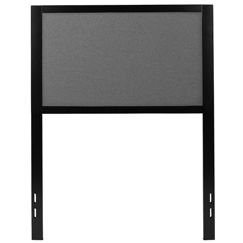 Melbourne Metal Upholstered Twin Size Headboard in Dark Gray Fabric [HG-HB1717-T-DG-GG]