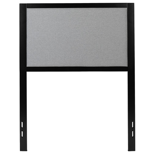 Melbourne Metal Upholstered Twin Size Headboard in Light Gray Fabric [HG-HB1717-T-LG-GG]