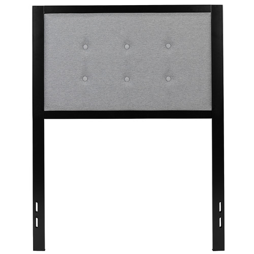 Bristol Metal Tufted Upholstered Twin Size Headboard in Light Gray Fabric [HG-HB1725-T-LG-GG]