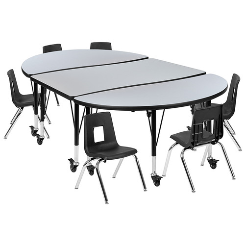 "Mobile 76"" Oval Wave Collaborative Laminate Activity Table Set with 12"" Student Stack Chairs, Grey/Black [XU-GRP-12CH-A3048CON-48-GY-T-P-CAS-GG]"