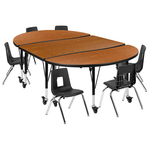 """Mobile 76"""" Oval Wave Collaborative Laminate Activity Table Set with 12"""" Student Stack Chairs, Oak/Black [XU-GRP-12CH-A3048CON-48-OAK-T-P-CAS-GG]"""