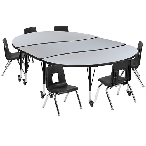 """Mobile 86"""" Oval Wave Collaborative Laminate Activity Table Set with 12"""" Student Stack Chairs, Grey/Black [XU-GRP-12CH-A3060CON-60-GY-T-P-CAS-GG]"""