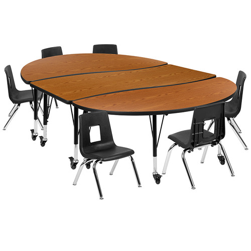 "Mobile 86"" Oval Wave Collaborative Laminate Activity Table Set with 12"" Student Stack Chairs, Oak/Black [XU-GRP-12CH-A3060CON-60-OAK-T-P-CAS-GG]"