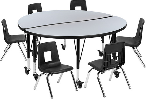 "Mobile 47.5"" Circle Wave Collaborative Laminate Activity Table Set with 12"" Student Stack Chairs, Grey/Black [XU-GRP-12CH-A48-HCIRC-GY-T-P-CAS-GG]"
