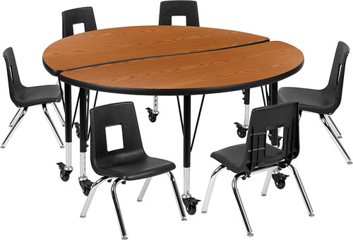 "Mobile 47.5"" Circle Wave Collaborative Laminate Activity Table Set with 12"" Student Stack Chairs, Oak/Black [XU-GRP-12CH-A48-HCIRC-OAK-T-P-CAS-GG]"