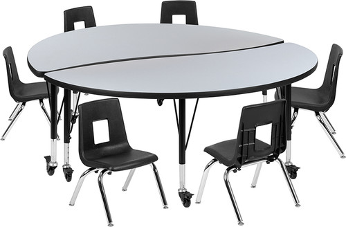 "Mobile 60"" Circle Wave Collaborative Laminate Activity Table Set with 12"" Student Stack Chairs, Grey/Black [XU-GRP-12CH-A60-HCIRC-GY-T-P-CAS-GG]"
