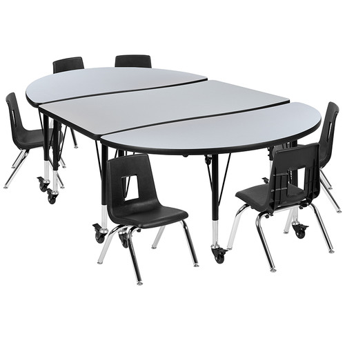 "Mobile 76"" Oval Wave Collaborative Laminate Activity Table Set with 14"" Student Stack Chairs, Grey/Black [XU-GRP-14CH-A3048CON-48-GY-T-P-CAS-GG]"