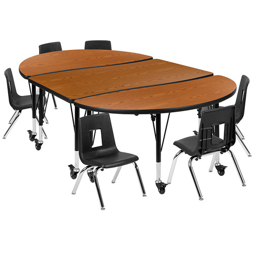 """Mobile 76"""" Oval Wave Collaborative Laminate Activity Table Set with 14"""" Student Stack Chairs, Oak/Black [XU-GRP-14CH-A3048CON-48-OAK-T-P-CAS-GG]"""