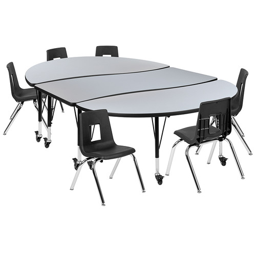 """Mobile 86"""" Oval Wave Collaborative Laminate Activity Table Set with 14"""" Student Stack Chairs, Grey/Black [XU-GRP-14CH-A3060CON-60-GY-T-P-CAS-GG]"""