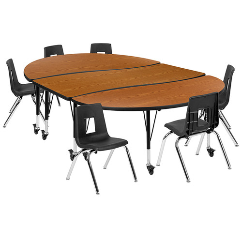 "Mobile 86"" Oval Wave Collaborative Laminate Activity Table Set with 14"" Student Stack Chairs, Oak/Black [XU-GRP-14CH-A3060CON-60-OAK-T-P-CAS-GG]"
