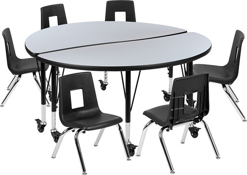 "Mobile 47.5"" Circle Wave Collaborative Laminate Activity Table Set with 14"" Student Stack Chairs, Grey/Black [XU-GRP-14CH-A48-HCIRC-GY-T-P-CAS-GG]"