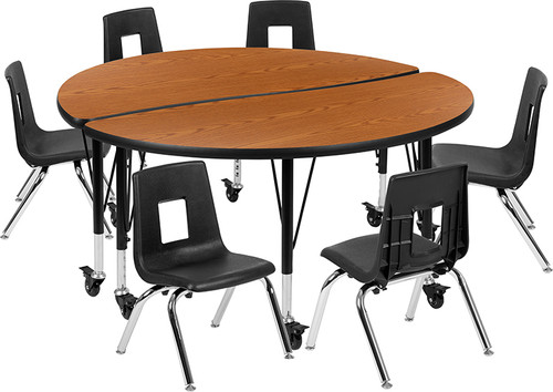 "Mobile 47.5"" Circle Wave Collaborative Laminate Activity Table Set with 14"" Student Stack Chairs, Oak/Black [XU-GRP-14CH-A48-HCIRC-OAK-T-P-CAS-GG]"