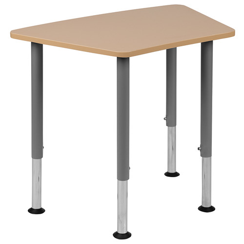 "Hex Natural Collaborative Student Desk (Adjustable from 22.3"" to 34"") - Home and Classroom [XU-SF-1001-NAT-A-GG]"