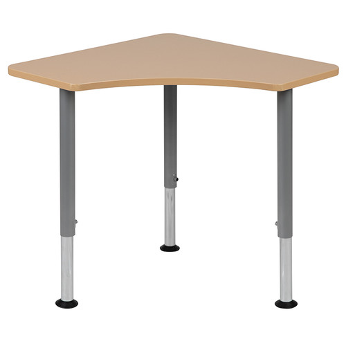 "Triangular Natural Collaborative Student Desk (Adjustable from 22.3"" to 34"") - Home and Classroom [XU-SF-1003-NAT-A-GG]"