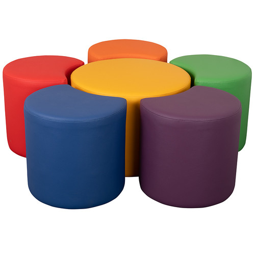 """Soft Seating Collaborative Flower Set for Classrooms and Common Spaces - Assorted Colors (18""""H) [ZB-FT-FLOWER-6018-GG]"""