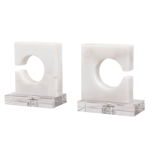 Uttermost Clarin White & Gray Bookends, S/2