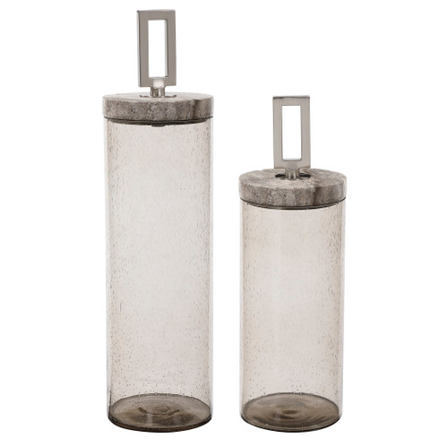 Uttermost Carmen Seeded Glass Containers, S/2