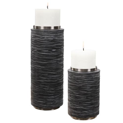Uttermost Strathmore Stone Gray Candleholders, S/2