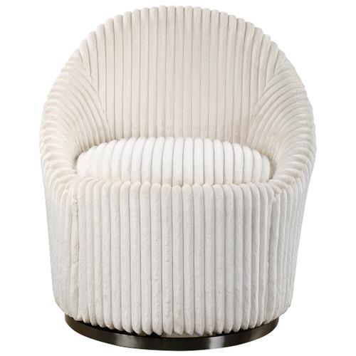 Uttermost Crue White Swivel Chair
