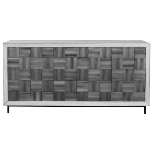 Uttermost Checkerboard 4 Door Gray Cabinet
