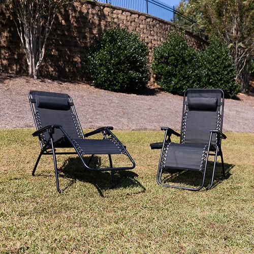 Set of 2 Portable Folding Zero Gravity Lounge Chairs