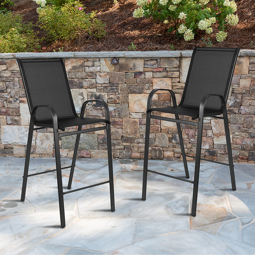 Set of 2 Stackable Sling Patio Stools for Commercial and Residential Use