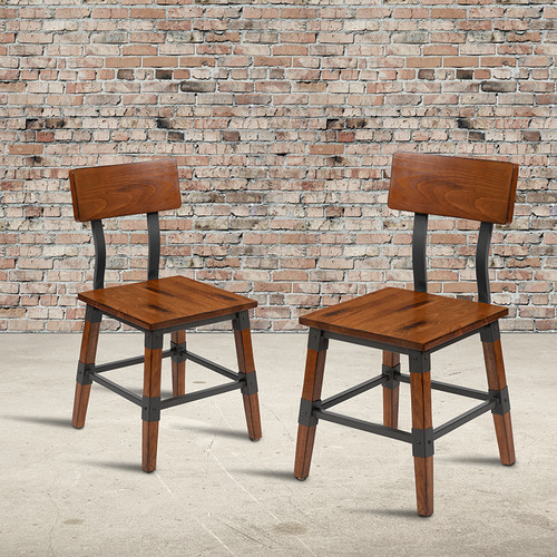 Set of 2 Commercial Grade Industrial Style Dining Chairs