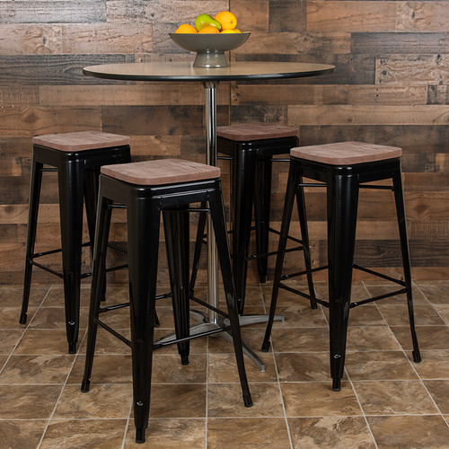 Set of 4 Modern Industrial Metal Stools  in Black