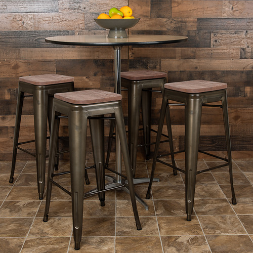Set of 4 Modern Industrial Metal Stools  in Gun Metal Gray