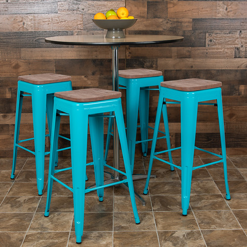 Set of 4 Modern Industrial Metal Stools  in Teal