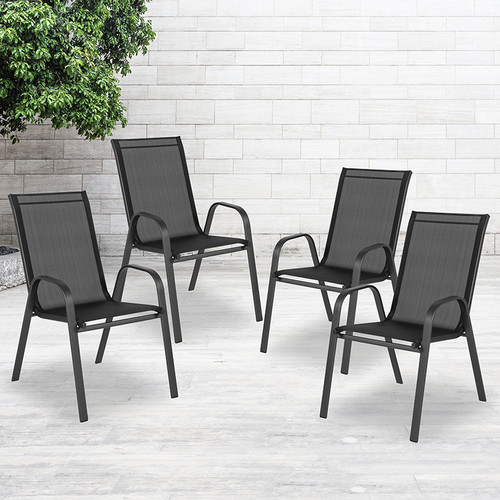 Set of 4 Stackable Sling Patio Chairs
