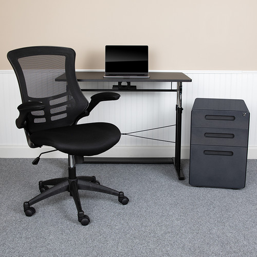 Office Set Bundle: Adjustable Computer Desk, Office Chair and Locking File Cabinet